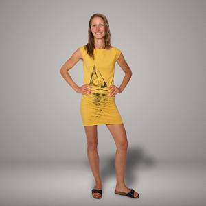 'Segelboot' Bio-Kleidchen in Maisgelb - shop handgedruckt