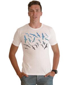 """Bio-Herren-Bambus-Viskose-T-Shirt """"Möwen""""  - Peaces.bio - EarthPositive® - handbedruckt"""