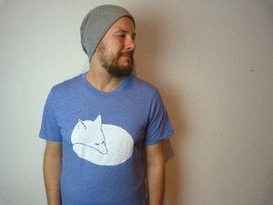 Organic Fuchsi Fuchs Herren T-Shirt, Blau Meliert - ilovemixtapes
