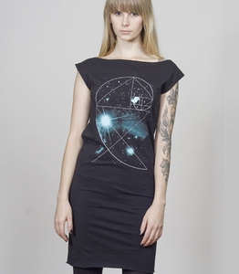 T-Dress Women Black 'Birdy of the Universe' - SILBERFISCHER