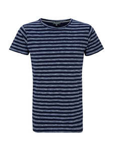 Men Henley Raglan Shirt - Striped Navy - Naturaline