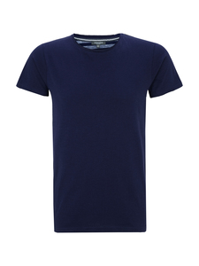 Men T-Shirt Open Edges - Fake Mélange Navy - Naturaline