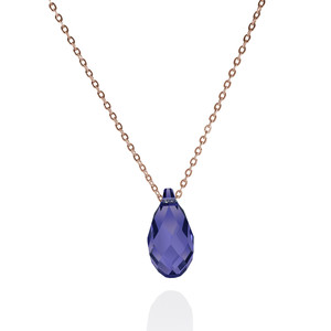 Rose-vergoldete 925er Sterling Silber Kristall-Kette 'Pine Tanzanite' - JuliaPilot