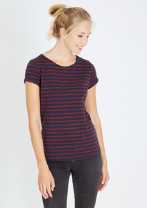 T-Shirt gestreift navy blau - rot - recolution