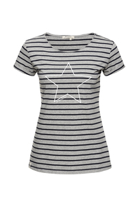 T-Shirt #STAR'N'STRIPES grau navy - recolution