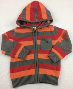 Strickjacke orange-grau-rot gestreift - Kite Kids