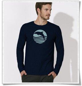 Sonnenuntergang mit Delfin Langarm T-Shirt für Männer in navy blau - Picopoc