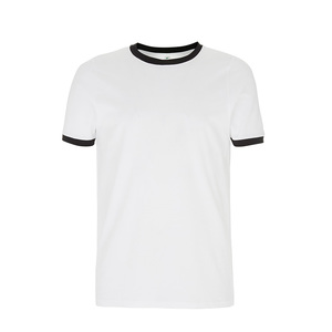 Organic T-Shirt - GOTS - White/Black Ringer - Continental Clothing