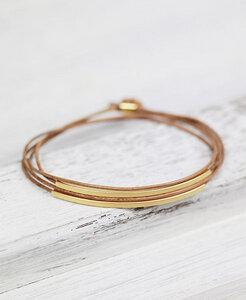 pikfine Leder Tube Armband 'Tingval' // Cognac gold oder silber - pikfine