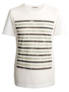 GRUNGE STRIPES T-Shirt –oliv -grau - woodlike