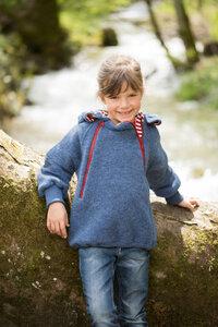 Engel Kinder-Pulli mit Kapuze Wollfleece - Engel natur