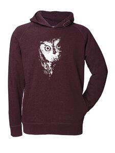 Fair gehandelter Männer Hoodie 'Owl' red melange - ilovemixtapes