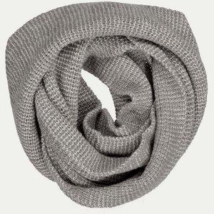 Rundschal - 100% Baby Alpaka - Grey/White - Les Racines Du Ciel