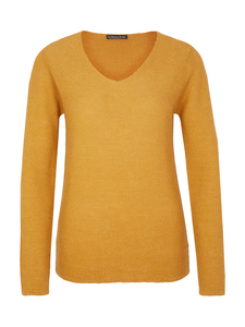 V-Neck Sweater - 100% Baby Alpaka - Yellow - Les Racines Du Ciel