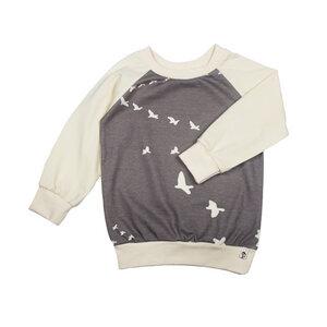 Jersey-Pullover mit Vogel-Print in braun und naturweiß - Carlique