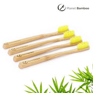 Bambus Kinder Zahnbürsten (4 Stück   Gelb   Medium) - Planet Bamboo