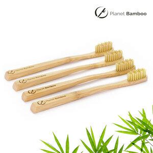 Bambus Kinder Zahnbürsten (4 Stück | Natur | Medium) - Planet Bamboo