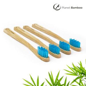 Bambus Kinder Zahnbürsten (4 Stück | Blau | Medium) - Planet Bamboo