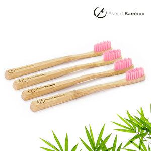 Bambus Kinder Zahnbürsten (4 Stück | Rosa | Medium) - Planet Bamboo