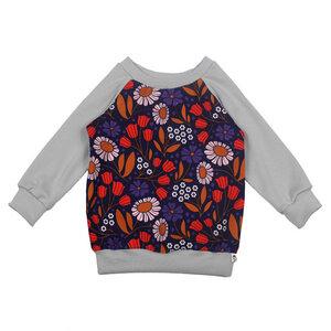 Jersey-Pullover mit Blumen-Print in grau - Carlique