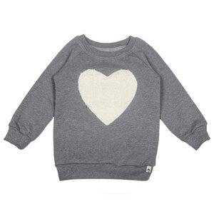 Sweat-Pullover mit Plüsch-Herz in grau - Carlique