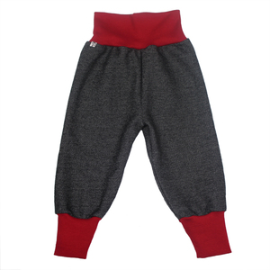 Sweat-Hose mit roten Bündchen in schwarz meliert - Carlique