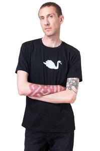 Fair-Trade Bio-Männershirt 'Schwan' schwarz - Hirschkind