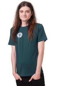 "Fair-Trade Bio-Männershirt ""Pusteblume"" tannengrün - Hirschkind"