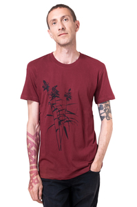 Bio- & Fair-Trade-Männershirt 'Schilf' weinrot - Hirschkind