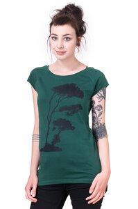 Bio-& Fair-Trade-Frauenshirt 'Pinie' dunkelgrün - Hirschkind