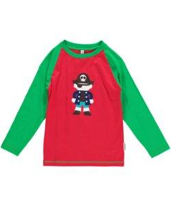 Langarm-Shirt 'Pirat' rot-grün mit Print Mädchen und Jungen - maxomorra