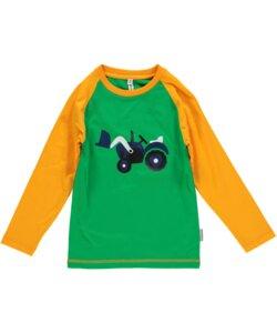 Langarm-Shirt 'Tractor' rot-grün mit Trecker-Print Jungen - maxomorra