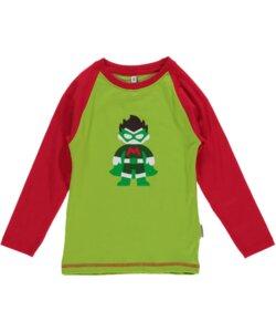 Langarm-Shirt 'Superboy' rot-grün mit Superhelden-Print Jungen - maxomorra