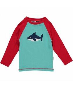 Langarm-Shirt 'Shark' blau mit Hai-Print  - maxomorra