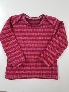 Babyshirt Knit-Knit rot-rosa gestreift - Omilich
