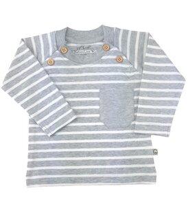 Baby Langarm Shirt grau geringelt Bio Baumwolle EBi & EBi - EBi & EBi