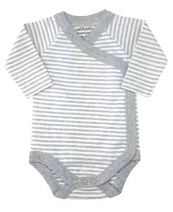 Baby Langarm Wickelbody grau geringelt Bio Baumwolle EBi & EBi - EBi & EBi