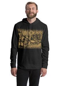 "Bio-Jersey-Hoodie ""peaceful herd of sheep"" - Peaces.bio - Neutral® - handbedruckt"