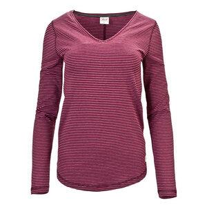 Langarm Shirt (dunkelrot gestreift) V-Ausschnitt - People Wear Organic