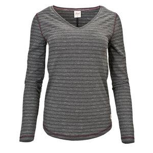 Langarm Shirt (anthrazit gestreift) V-Ausschnitt - People Wear Organic