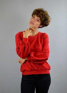 Baumwollpullover Caro mit Ballonärmeln in rot - ManduTrap