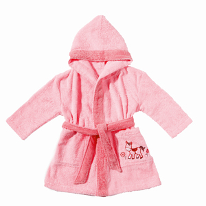 Kinderbademantel mit Kapuze Pony rosa 100 % Bio- Baumwolle   - EGERIA