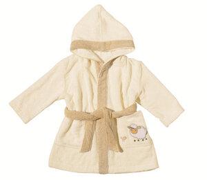 Kinderbademantel mit Kapuze Sheep beige 100 % Bio- Baumwolle   - EGERIA