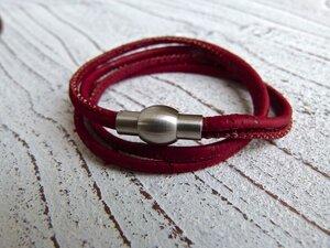 Damen Wickelarmband aus Kork in dunkelrot - Charme-charmant