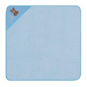Kapuzenbadetuch Teddybär bleu 100 % Bio- Baumwolle  100 x 100 cm  - EGERIA