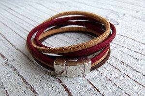 Damen Wickelarmband aus Kork in beige, rot und braun - Charme-charmant