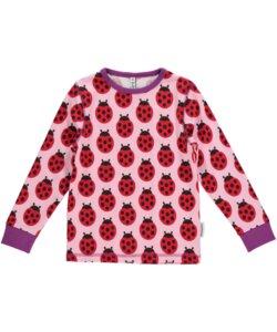 Baby-Mädchen Langarm-Shirt 'Ladybugs' rosa-rot mit Marienkäfer-Print  - maxomorra