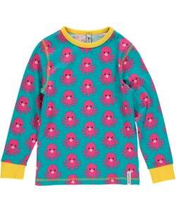 Mädchen Langarm-Shirt 'Octopus' türkis-rosa mit Kraken-Print  - maxomorra