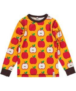 Langarm-Shirt 'Apple' gelb-rot mit Apfel-Print für Jungen und Mädchen - maxomorra