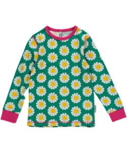 Langarm-Shirt 'Daisy' türkis mit Gänseblümchen-Print für Mädchen - maxomorra